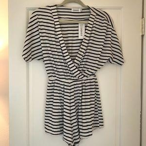Lioness Mura Boutique black & white stripe romper